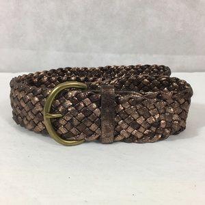 LOFT Woven Belt Brown Metallic Bronze Size Large